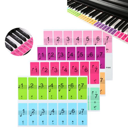 Piano Label (Moaere Colorful Removable Piano Sticker Decal for 88/61/51 Key Keyboard Key Note Label )