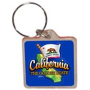 1266470 California Lucite Keychain- Map/Flag Case of 96