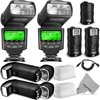 "Altura Photo Studio Pro Flash Kit for CANON DSLR Bundle with 2pcs E-TTL Flash AP-C1001, Dual Wireless Flash Trigger Set and Accessories <p><b><u>DESCRIPTION:</u></b></p><ul style=""list-style-type: disc""><li style=""list-style: none""><b>Altura Photo Professional E-TTL Flash (AP-C1001) for all Canon Cameras (New and improved 2014 Design)</b><br><br>The Pro Studio Flash Kit includes 2 Altura Photo AP-C1001 Speedlites and 2 receivers allowing you to shoot with 2 flashes off camera at the same time.<br><br>Perfect for portrait photography either in a studio, on location, or at home, and great for photographing large groups, special occasions, and weddings.<br><br><b>Features:</b><br><br><b>Backed with Digital Goja 90-Day 100% Satisfaction Guarantee.</b><br><br> <b>Includes 1-Year Altura Photo Limited Warranty.</b><br><br><b>Altura Photo AP-C1001 Professional E-TTL Flash</b><br></li><li>Powerful flash performance with a guide no. of 68(m).</li><li>This is a dedicated flash that works in both the automatic and manual modes.</li><li>Large, easy to read rear backlit display.</li><li>Features a built-in optical sensor for off-camera flash capability.</li><li>Super fast 4 second recycling time.</li><li><b>This flash does not support rear curtain and high-speed sync.</b></li></ul><ul style=""list-style-type: disc""><li style=""list-style: none""><b>Wireless Flash Trigger Set (2 receivers, 1 transmitter) with Remote Shutter Function</b><br>Simply slide the transmitter onto your camera's hot-shoe, and your flash onto the included receiver.</li><li>Operating Distance: Up to 30 meters (100 feet)</li><li>Flash sync speed up to 1/250s</li><li>Serves also as a wireless shutter release.</li><li><b>NOTE:</b> This trigger does not support E-TTL mode, but the flash by itself does.</li></ul><ul style=""list-style-type: disc""><li style=""list-style: none""><b>Compatibility:</b><br>Will work with all Canon Digital Cameras with a standard hot-shoe mount including:</li><li>Ultra gentle! Extremely fine microfiber leaves zero scratches, streaks or marks. Safe for all lenses.</li><li>Powershot G11, G12, G15, G16, G1X, SX50 HS, SX60 HS</li><li>Rebel T6, T6I, T6S, SL1, T3, T3i, T4i, T5i, T5, XT, XTI, XS</li><li>EOS 60D, 70D, 7D, 5D, 5D MK II</li><li>NOTE: E-TTL mode is not compatible with the Canon EOS 5D MK IV and EOS 80D. Manual flash mode compatibility only.</li></ul>"
