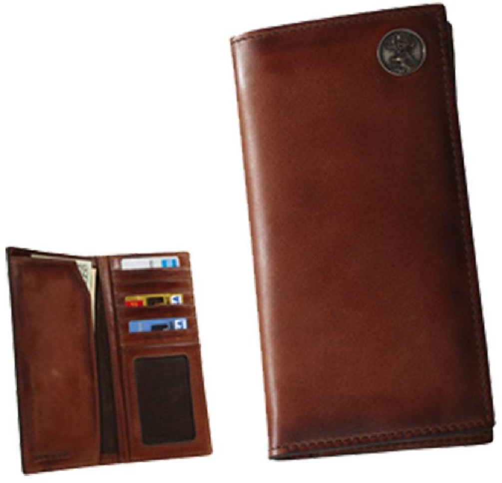 Premium Leather Men's Caramel Brown Pocket Secretary Wallet with Buck Concho