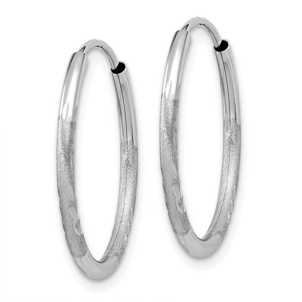 FB Jewels 14k White Gold 24 mm Pair Polished Endless Hoop Earrings