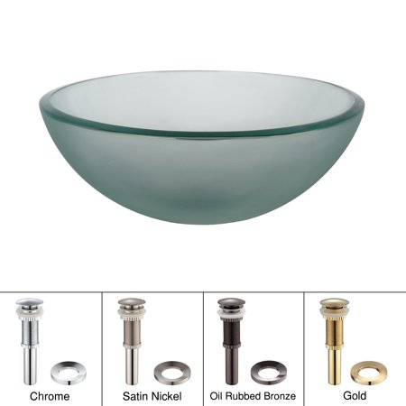 12 Inch Vessel Sink - KRAUS 14 Inch Glass Vessel Sink in Frosted with Pop-Up Drain and Mounting Ring in Satin Nickel