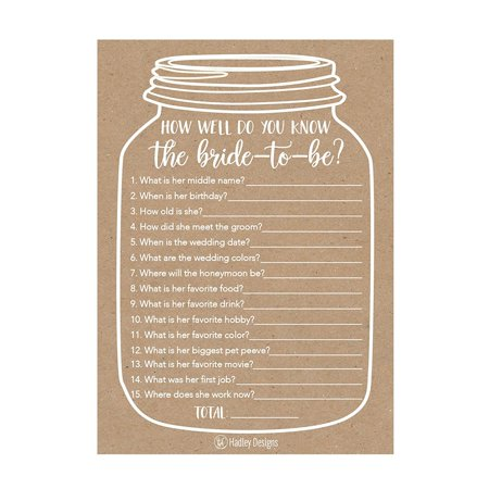 25 Cute Rustic How Well Do You Know The Bride Bridal Wedding Shower or Bachelorette Party Game, Who Knows The Best Does The Groom? Couples Guessing Question Set of Cards Pack Unique Printed Engagement ()