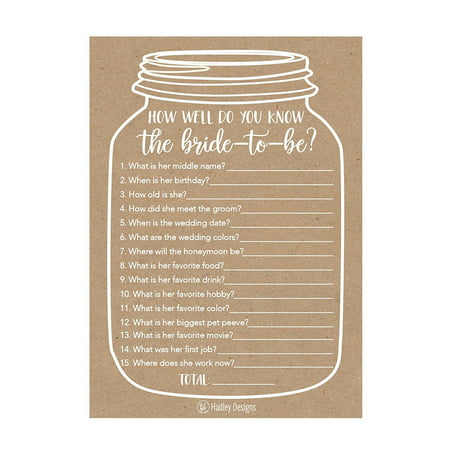25 Cute Rustic How Well Do You Know The Bride Bridal Wedding Shower or Bachelorette Party Game, Who Knows The Best Does The Groom? Couples Guessing Question Set of Cards Pack Unique Printed Engagement](Wedding Shower Game)