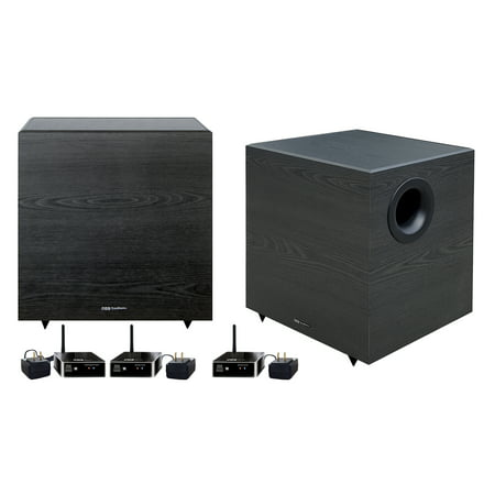 "2 BIC America 12"" V1220 430-Watt Down Firing Wireless Subwoofers-Compatible with 2.1, 5.1, 7.1, 9.1 and .2 Audio - Down Fire Subwoofer"