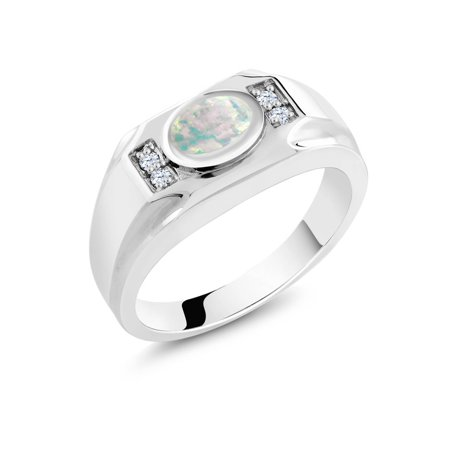 1.21 Ct Oval White Simulated Opal White Created Sapphire 925 Silver Men's Ring ()