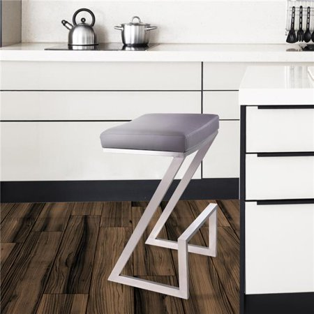 Atlantis 30 in. Bar Height Backless Barstool in Brushed Stainless Steel with Grey Faux Leather ()