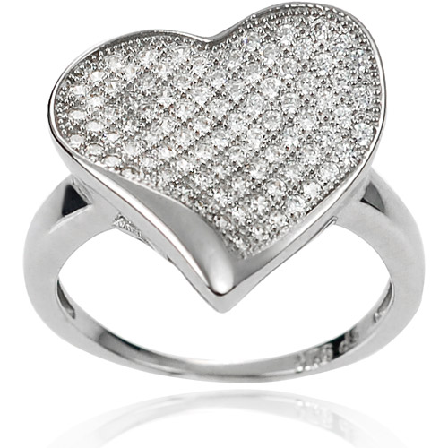 Brinley Co. Women's CZ Sterling Silver Waved Heart Ring