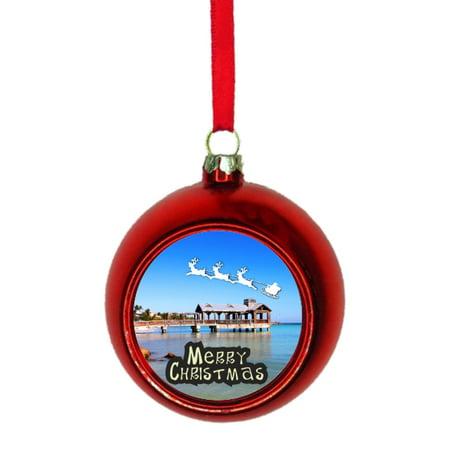 Christmas In Florida Keys.Santa Klaus And Sleigh Riding Over The Florida Keys Bauble Christmas Ornaments Red Bauble Tree Xmas Balls