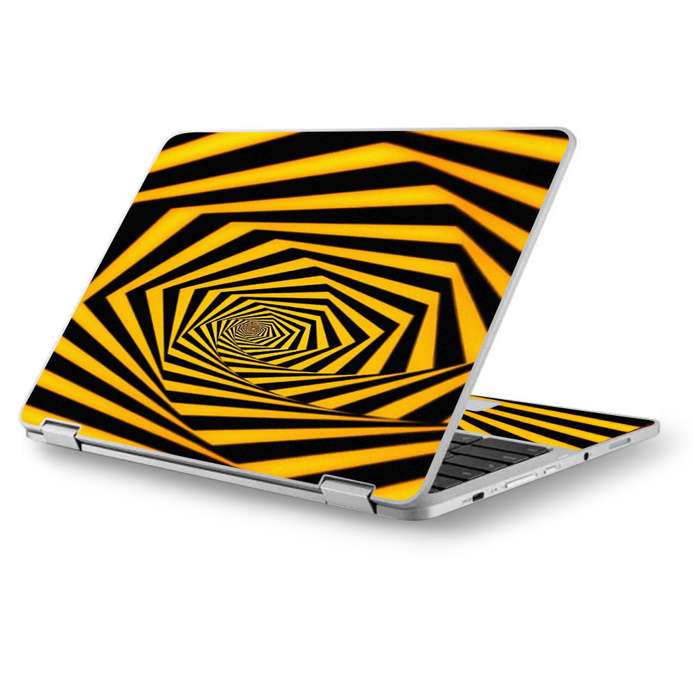 """Skins Decals for MacBook Air 11"""" A1370 A1465 / Black Yellow Trippy Pattern"""