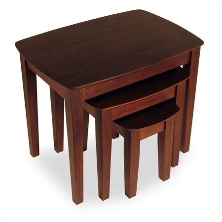 - Pemberly Row Solid Wood 3 Piece Nesting/End Tables in Walnut