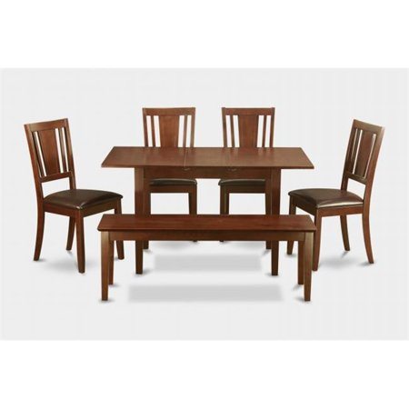 East West Furniture NODU6C-MAH-LC Norfolk 6PC Set with rectangular table featured 12 in Butterfly Leaf and 4 Faux Leather Seat chairs and one 51-in Long bench