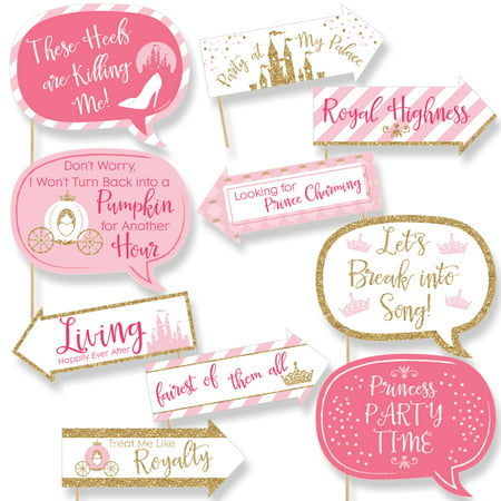 Funny Little Princess Crown - Pink and Gold Princess Baby Shower or Birthday Party Photo Booth Props Kit - 10 Piece - Princess Birthday Themes
