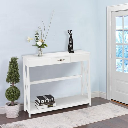 Ktaxon White Console Table Sofa Table with Drawer and Shelf Slim Entryway Table with Storage for Hallway, Living Room, Foyer