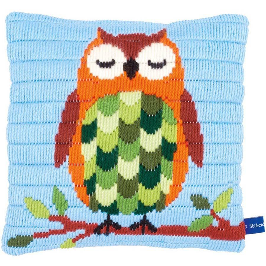 """Sleeping Owl Cushion Longstitch Kit, 10"""" x 10"""" Stitched In Yarn"""