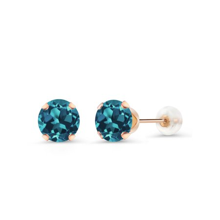1.50 Ct Round 6mm London Blue Topaz 10K Rose Gold Stud Earrings (Rose Gold London Blue Topaz)
