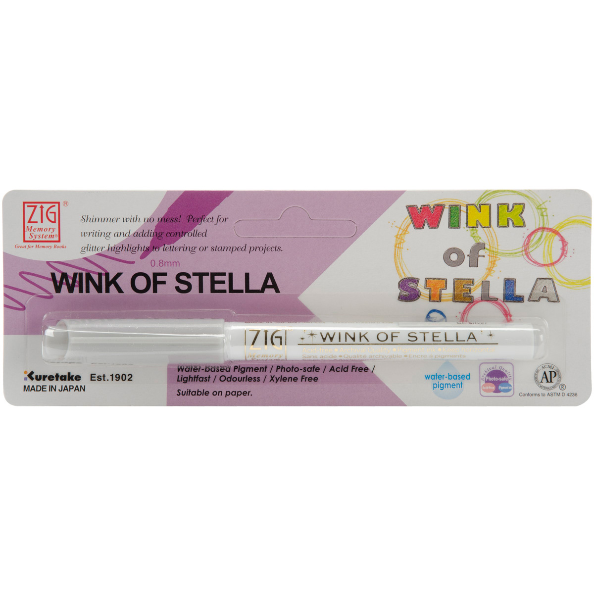 Zig Memory System Wink of Stella Giltter Marker, Carded, Silver Multi-Colored