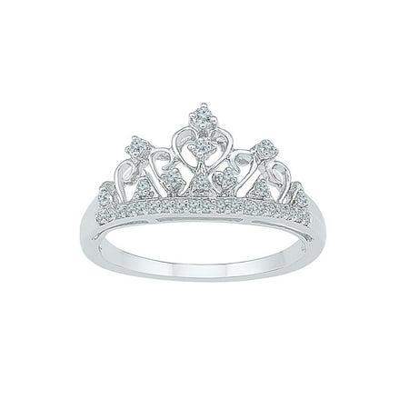 10k White Gold Round Diamond Womens Womens Crown Tiara Cocktail Band 1/5 Cttw - image 1 of 1