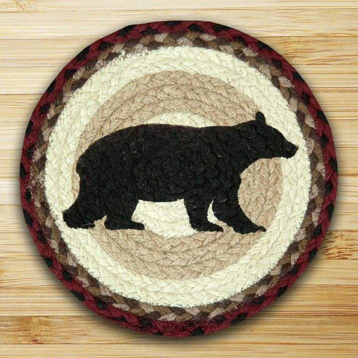 "CABIN BEAR 100% Natural Braided Jute Swatch 10"" Trivet/Placemat, by Earth Rugs"