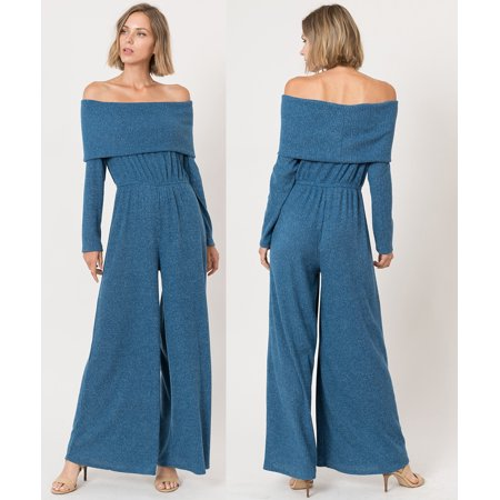 Jumpsuit Sewing (JED FASHION Women's Ribbed Knit Fabric Off-Shoulder Wide Leg)