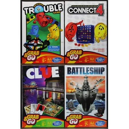 Hasbro Grab & Go Game Trouble, Connect 4, Clue, and BattleShip - All 4 Games (Grab The Ghost Halloween Game)
