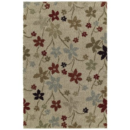 Mayberry Rug Shaggy Supreme Beige Prissy Floral Area Rug](Shaggy Girl)