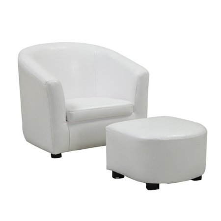 Pleasant Kingfisher Lane Faux Leather Chair And Ottoman Set In White Pabps2019 Chair Design Images Pabps2019Com