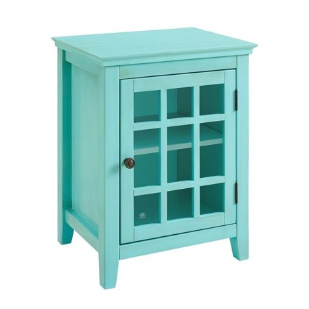 Riverbay Furniture Antique Single Door Curio Cabinet in Turquoise (Turquoise China Cabinet)