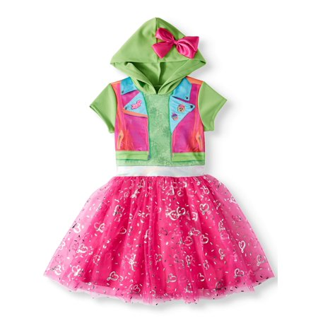 Little Girls Fairy Dresses (JoJo Siwa Cosplay Graphic Printed Tutu Tulle Dress With Jojo Bow Hood (Little Girls & Big)