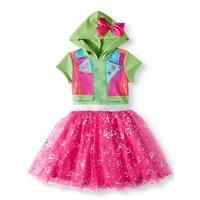 JoJo Siwa Cosplay Graphic Printed Tutu Tulle Dress With Jojo Bow Hood (Little Girls & Big Girls)