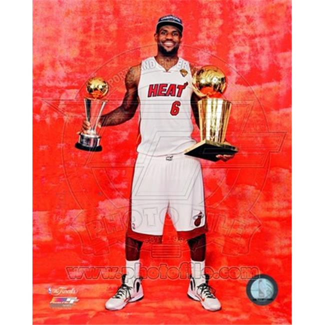 Photofile PFSAAOZ15501 LeBron James with the 2012 NBA Championship & MVP Trophies Game 5 of the 2012 NBA Finals Photo