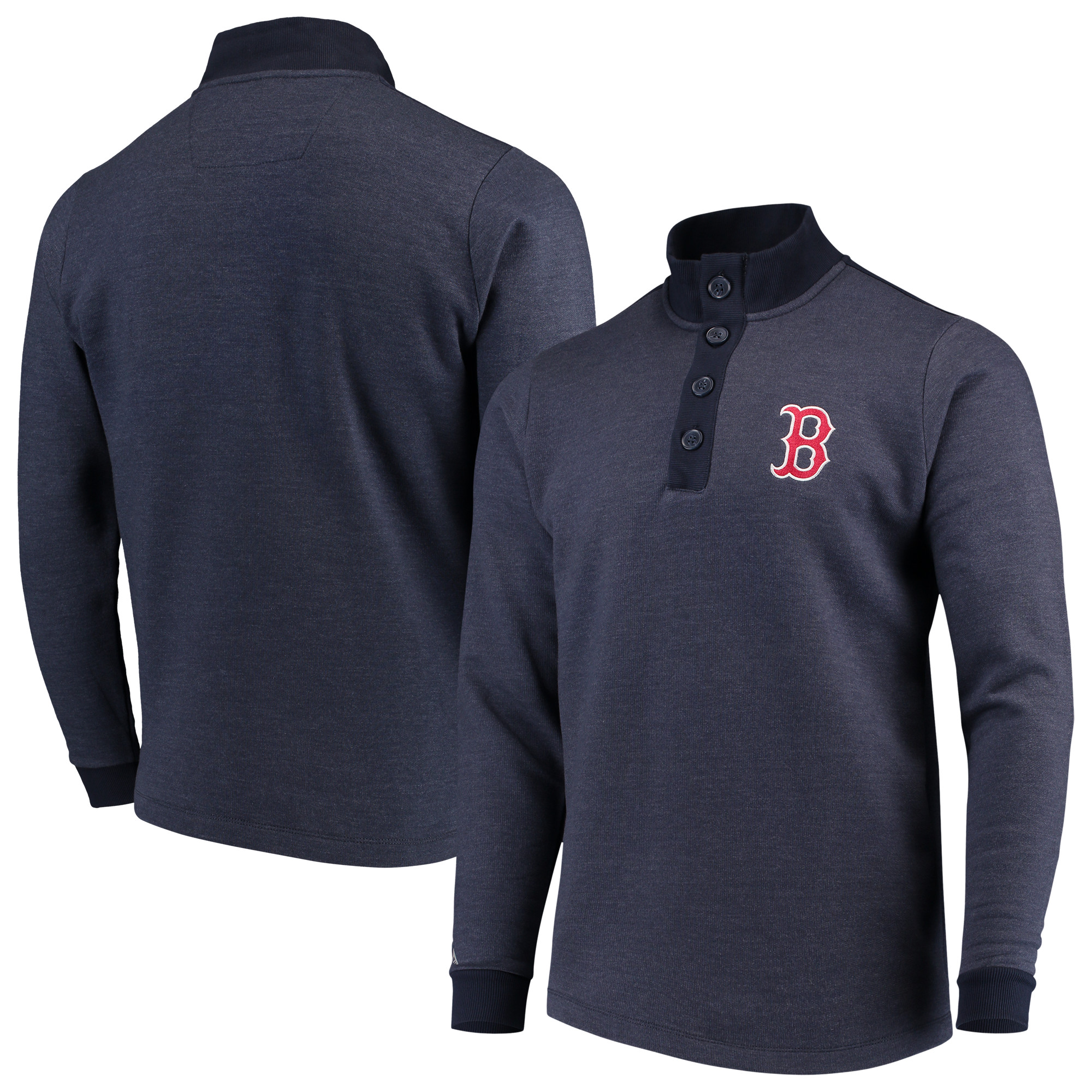 Boston Red Sox Antigua Pivotal Button Pullover Sweatshirt - Navy