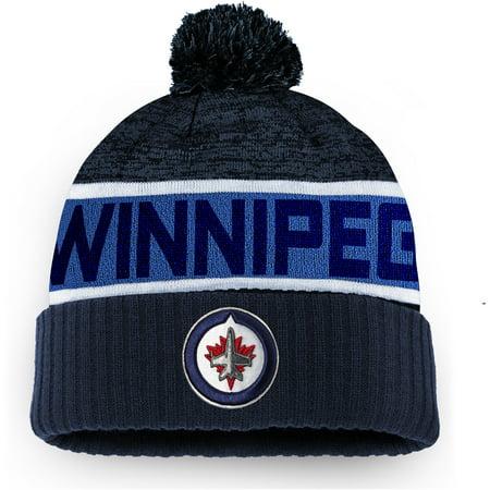 Winnipeg Jets Memorabilia (Winnipeg Jets Fanatics Branded Authentic Pro Rinkside Goalie Cuffed Knit Hat With Pom - Navy - OSFA)