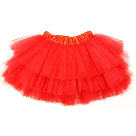 Little Girls Red Satin Elastic Waist Triple Layer Ballet Tutu Skirt 2-8Y](Girls Red Skort)