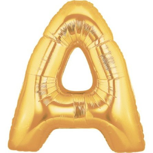 40 Inch Megaloon Gold Letter A Balloons - Wholesale Multi-Colored