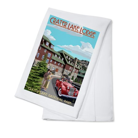 Crater Lake National Park, Oregon - Lodge Entrance - Lantern Press Artwork (100% Cotton Kitchen Towel)