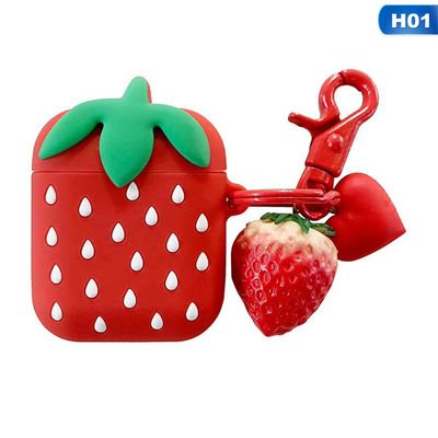 Creative Xdock Wireless - AkoaDa Cute Creative 3D Cartoon Shape Soft Silicone Wireless Bluetooth Earphone Case Headphones Cover Shockproof Protective Skin for Apple AirPods Charging Case Strawberry Red