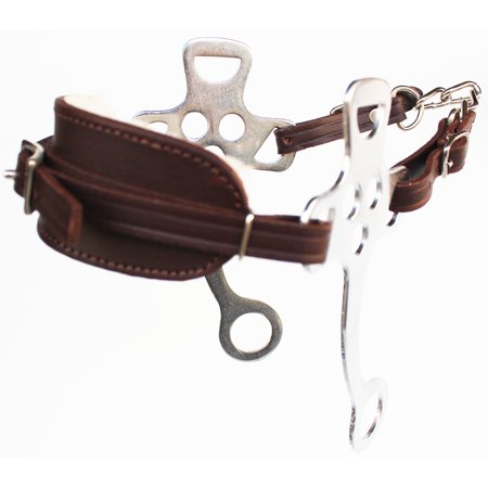 Horse Brown Leather Hackamore English Western Bridle Bit Bitless Tack 35H56 ()