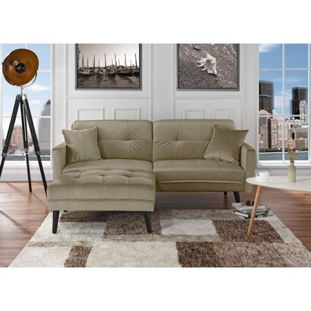 Mid-Century Modern Brush Microfiber Futon Sofa Bed, Living Room ...