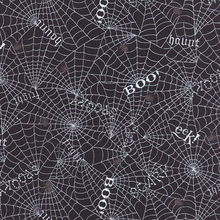 Moda Deb Strain Bewitching Halloween Webs Words Black