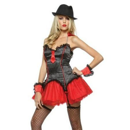 Lip Service New Womens Sexy Mafia Mob Gangster Halloween Costume [] - Mob Woman Costume