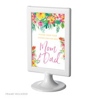 Tropical Floral Garden Party Baby Framed Party Signs, Please Leave Your Wishes for the New Mom, 4x6-inch, Includes Frame
