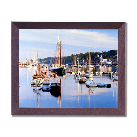 Camden Harbor Sailboats Lake Landscape Wall Picture Cherry Framed Art Print