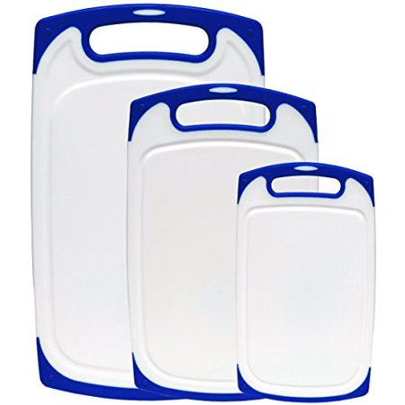 Plastic Drip - Dutis 3-Piece Dishwasher Safe Plastic Cutting Board Set with Non-Slip Feet and Drip Juice Groove, White with Blue