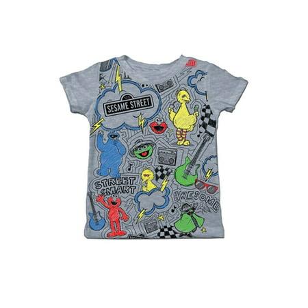 Sesame Street Scribble Checker Toddler Heather Gray T-Shirt