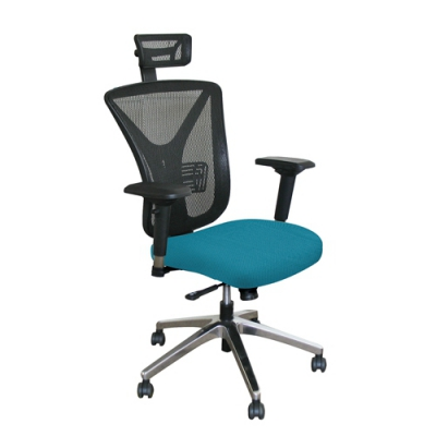 Executive Mesh Chair with Teal Fabric with Aluminum Base and Headrest MVLWMCE...