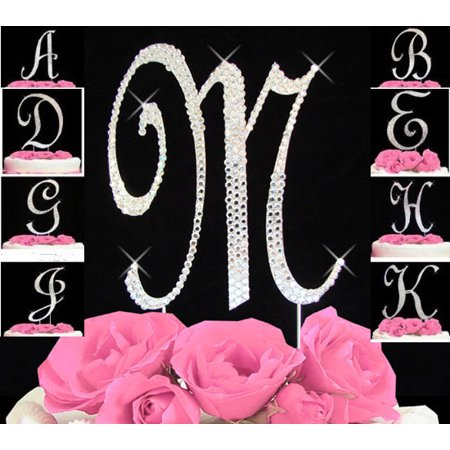 * Crystal Covered Monogram Cake Toppers Silver Letter Initial A-Z any Initial (Monogram Letter A Cake Topper)