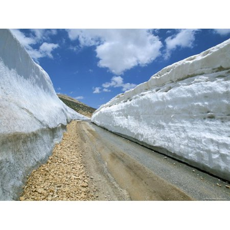 Spring Snow on Road Crossing the Mount Lebanon Range Near Bcharre, Lebanon, Middle East Print Wall Art By Gavin