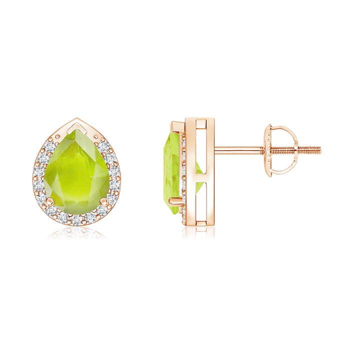 Angara Rose Gold Pear Shaped Peridot Earrings 4s799uj