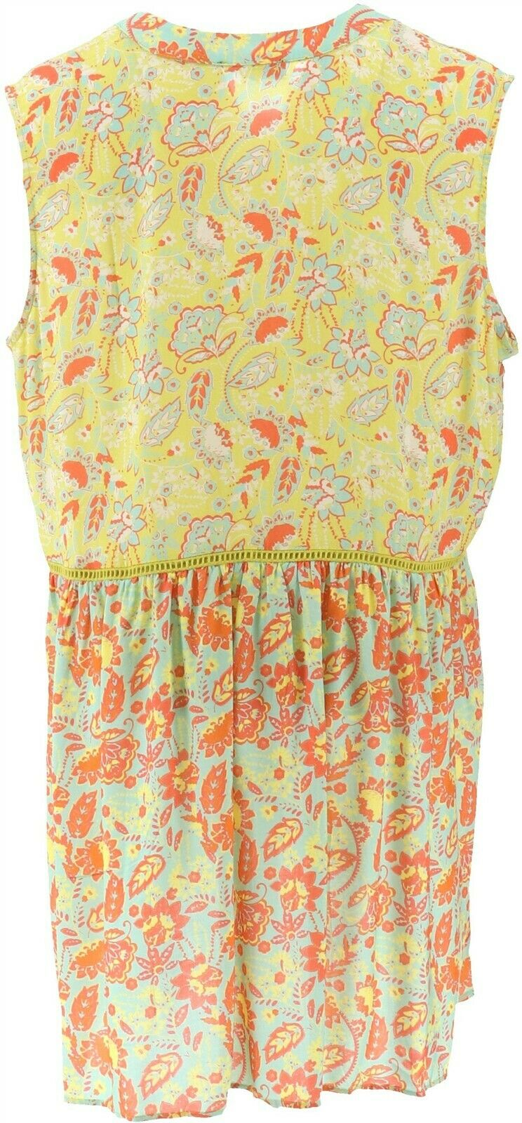 DG2 Diane Gilman Mixed Print Button-Down Tunic Cream Navy M NEW 697-475